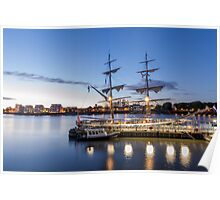 Sunset on the tall ships Poster