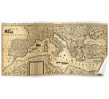 Mediterranean Sea Map by Guillaume Sanson (1680) Poster