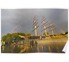 Rainbow over cutty sark Poster