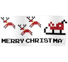 Pixel Sleigh Merry Christmas Poster