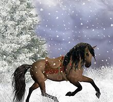 Winter Horse Season's Greeting Christmas Card by Moonlake