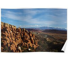 Arches rocks and mountains Poster