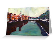 Liffey, Arran Quay and Ushers Quay - Dublin Greeting Card