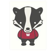Badger Mascot Chibi Cartoon Art Print