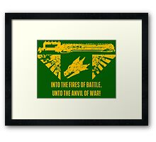 Into the fires of battle Framed Print