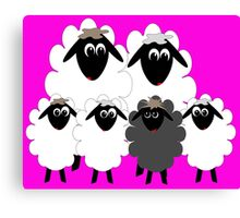 Normal family with a Black Sheep Canvas Print
