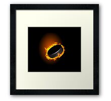 Burning Hockey Puck  Framed Print