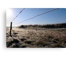 ice coated wire fence in a farm field Canvas Print