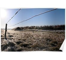 ice coated wire fence in a farm field Poster