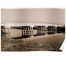 irish road bridge over cold river in sepia Poster