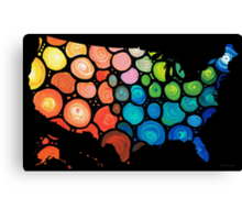 United States of America Map 2 - Colorful USA Canvas Print