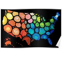 United States of America Map 2 - Colorful USA Poster