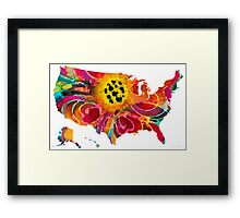 United States of America Map 3 - Colorful USA Framed Print