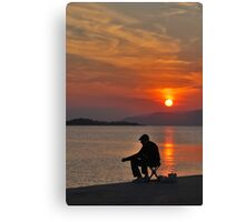 sunset fisherman Canvas Print