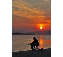 sunset fisherman Photographic Print
