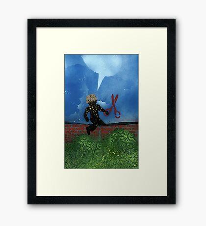 Boy with Scissors Framed Print