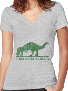 T-Rex Hates Pushup T-Shirt Women's Fitted V-Neck T-Shirt