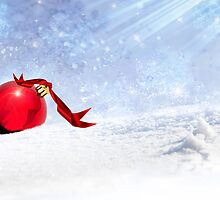 Christmas Background With Red Bauble In The Snow by Corina Daniela Obertas