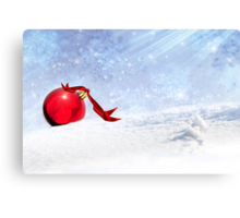 Christmas Background With Red Bauble In The Snow Canvas Print