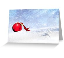 Christmas Background With Red Bauble In The Snow Greeting Card