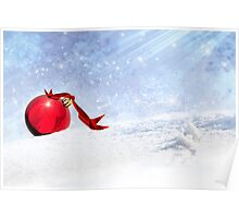 Christmas Background With Red Bauble In The Snow Poster