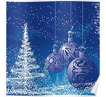 Blue And White Christmas Scene with trees and ornaments Poster
