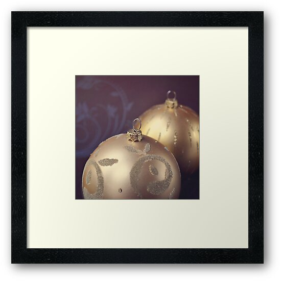 Gold ornate Christmas baubles by Lyn  Randle