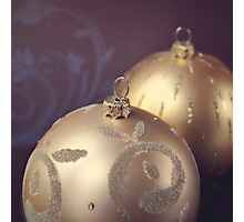 Gold ornate Christmas baubles Photographic Print