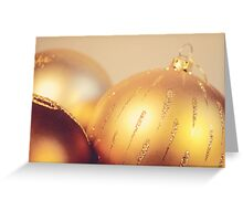 Gold Christmas baubles Greeting Card
