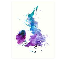 UK map in Watercolours Art Print