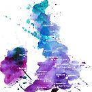 UK map in Watercolours by Anastasiia Kucherenko