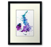 UK map in Watercolours Framed Print