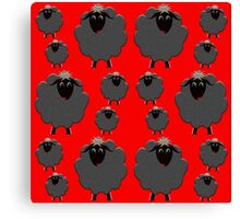 Black sheep on red Canvas Print