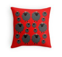 Black sheep on red Throw Pillow