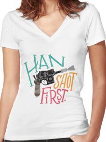 Star Wars - Han Shot First Women's Fitted V-Neck T-Shirt