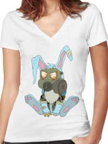Apocalypse Bunny  Women's Fitted V-Neck T-Shirt