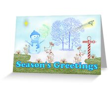 Merry Christmas with snowman north pole Greeting Card
