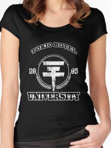 Tokio Hotel University | WHITE TEXT Women's Fitted Scoop T-Shirt