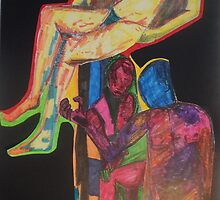 Collage Of Three Naked Nudes In Colour by tristanaf