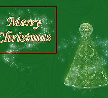 Merry Christmas card with christmas tree happy holidays by Cheryl Hall