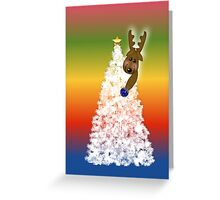 Merry Christmas happy holidays card with white christmas tree and reindeer Greeting Card