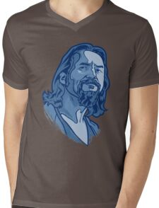 The Dude blue Mens V-Neck T-Shirt