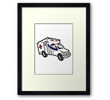 Ambulance Vehicle Emergency Medical Technician Paramedic  Framed Print
