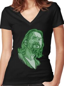 The Dude green Women's Fitted V-Neck T-Shirt