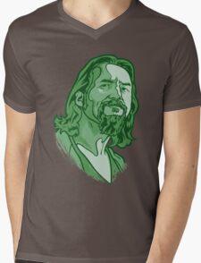 The Dude green Mens V-Neck T-Shirt