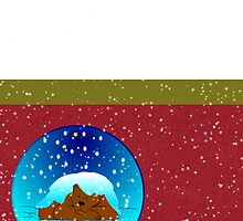 Merry Christmas happy holiday season's greetings with bear in snow by Cheryl Hall