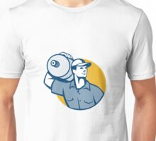 Delivery Worker Carrying Water Jug Retro  Unisex T-Shirt