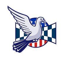 Racing Pigeon Race Flag American Stars Stripes  by patrimonio
