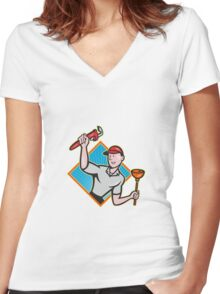 Plumber With Monkey Wrench And Plunger Cartoon  Women's Fitted V-Neck T-Shirt