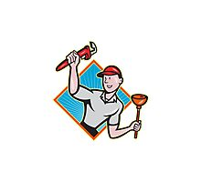 Plumber With Monkey Wrench And Plunger Cartoon  Photographic Print